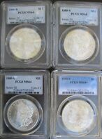 LOT OF FOUR 4 PCGS 1880-S MORGAN SILVER DOLLARS MINT STATE 64 3 & MINT STATE 64 1
