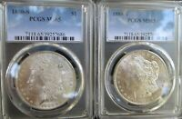 LOT OF TWO 1880-S MORGAN SILVER DOLLARS $1 MINT STATE 65 PCGS