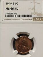 1949-S NGC MINT STATE 66 RED LINCOLN UNCIRCULATED BU