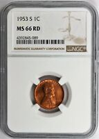 1953-S LINCOLN CENT NGC CERTIFIED MINT STATE 66 RD