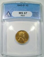 1942 D LINCOLN CENT ANACS MS 67 RED PENNY SPOTLESS  BEAUTIFUL RED GEM