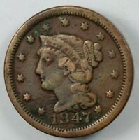 1847 BRAIDED HAIR EARLY US COPPER CENT 1C   ONE C_NT
