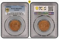 1949 P  AUSTRALIA 1/2D PCGS   MS64RB POP 7/0  783 D1 361