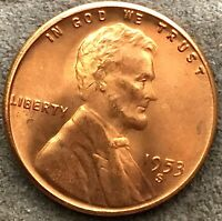 1953 S CHOICE UNCIRCULATED RB/RD - REVERSE BELOW AVG - LINCOLN WHEAT CENT  E820