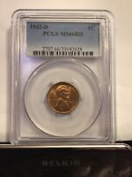 1942 D PCGS MINT STATE 66RD LINCOLN WHEAT CENT