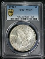 1902 S MORGAN SILVER DOLLAR PCGS MINT STATE 63 CHOICE BU KEY DATE LOW MINTAGE COIN