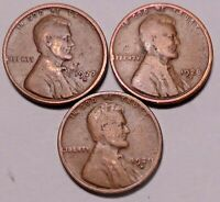 1927 D 1928 D 1929 D  LINCOLN WHEAT CENT PENNY - 3 COINS - SHIPS FREE