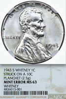 1943-S NGC MINT STATE 63 CENT ON SILVER DIME $15,275 APR FOR EXTRA FINE 40 LINCOLN WHEAT STEEL 1C