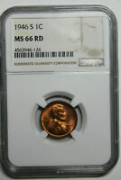 1946 S NGC MINT STATE 66 RD LINCOLN CENT