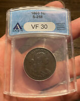 1803 DROPPED BUST LARGE CENT VF 30 ANACS