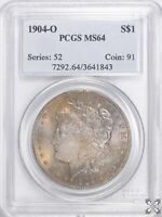 1904 O $1 MORGAN SILVER DOLLAR PCGS MINT STATE 64 TONED
