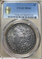 1897 PCGS MINT STATE 61 MORGAN SILVER DOLLAR