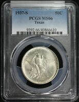 1937 S TEXAS COMMEMORATIVE SILVER HALF DOLLAR PCGS MINT STATE 66 HIGH GRADE LUSTROUS COIN