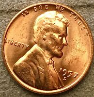 1957 D UNCIRCULATED RED LINCOLN WHEAT CENT PENNY STOCK PHOTO. FREE SHIP