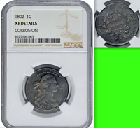 1802 NGC EXTRA FINE  $1,650-CU DRAPED BUST 1C LARGE CENT ISSUES BUT DECENT NAKED EYE LOOK