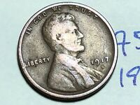1917 S LINCOLN CENT WHEAT CENT 7588K