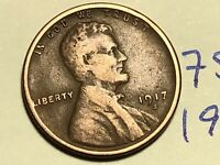 1917 S LINCOLN CENT WHEAT CENT 7589K