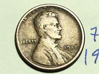1917 S LINCOLN CENT WHEAT CENT 7584K