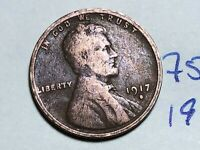 1917 S LINCOLN CENT WHEAT CENT 7595K