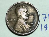 1917 S LINCOLN CENT WHEAT CENT 7596K