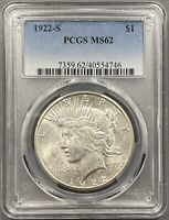 1922-S PEACE DOLLAR $1 - PCGS MINT STATE 62