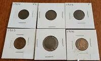 OLD US COIN LOT OF 6 INDIAN HEAD PENNIES CENT COINS PARTIAL LIBERTY VG 1900'S