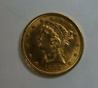 1882    $5 GOLD HALF EAGLE    AU UNC BEAUTY