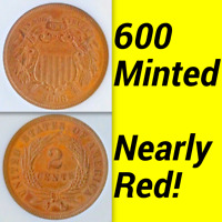 1868 ANACS PR60 MINTAGE 600 MOSTLY RED  COMMERCIAL PR66 2C PROOF TWO CENT PIECE