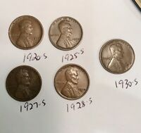 LOT OF 5 S MINT WHEAT CENTS 1920 1925 1927 1928 1930