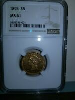 1898 LIBERTY HEAD HALF EAGLE $5 GOLD NGC MS61