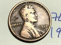 1917 S LINCOLN CENT WHEAT CENT 7608K