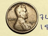 1917 S LINCOLN CENT WHEAT CENT 7602K