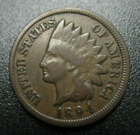 1894/94 INDIAN HEAD CENT ERROR REPUNCHED DATE FS 301 NICE VG F