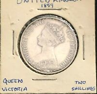 1859 GREAT BRITAIN QUEEN VICTORIA GOTHIC HEAD STYLE SILVER FLORIN