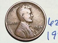 1927 D LINCOLN CENT WHEAT CENT 6222K