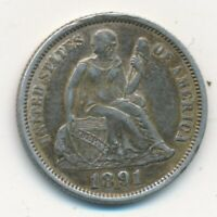 1891 SEATED LIBERTY SILVER DIME-  LIGHTLY CIRCULATED-SHIPS FREE INV:5