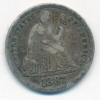 1887-S SEATED LIBERTY SILVER DIME-  CIRCULATED DIME-SHIPS FREE INV:3