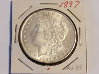 1897 MORGAN SILVER DOLLAR AU  VERT  COIN PRETTY MUCH MARK FREE.