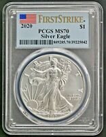 2020 $1 AMERICAN SILVER EAGLE PCGS MS70 FIRST STRIKE
