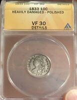 1833 CAPPED BUST DIME ANACS VF 30 DETAILS