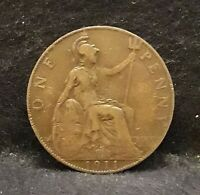 1911 GREAT BRITAIN PENNY ROYAL MINT GEORGE V KM 810