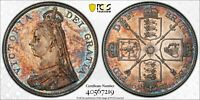 GREAT BRITAIN DOUBLE FLORIN INVERTED I PCGS AU58