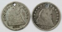 LOT OF  2  LIBERTY SEATED CULL SILVER HALF DIMES   1856 & 18