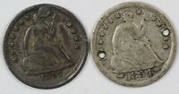 LOT OF  2  LIBERTY SEATED CULL SILVER HALF DIMES H10C   1854