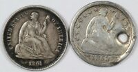 LOT OF  2  LIBERTY SEATED CULL SILVER HALF DIMES H10C   1853