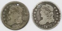 LOT OF  2  CAPPED BUST CULL SILVER HALF DIMES H10C   1832 &