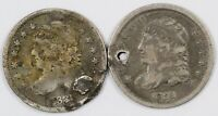 LOT OF  2  CAPPED BUST CULL SILVER HALF DIMES H10C   1835 &