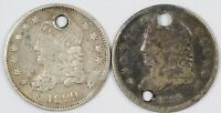 LOT OF  2  CAPPED BUST CULL SILVER HALF DIMES H10C   1829 &