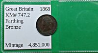 WORLD FOREIGN OLD BRITISH VICTORIA FARTHING COIN 1868 KM 747