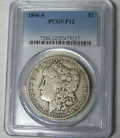 PCGS F12 1896-S MORGAN SILVER DOLLAR SAN FRANCISCO MINT NEVER CLEANED
